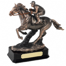 COPPER PLATED HORSE AND JOCKEY FIGURE